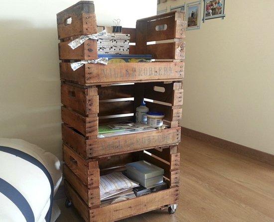 Estanter a caja ruedas decoraci n con madera - Decoracion con ruedas ...
