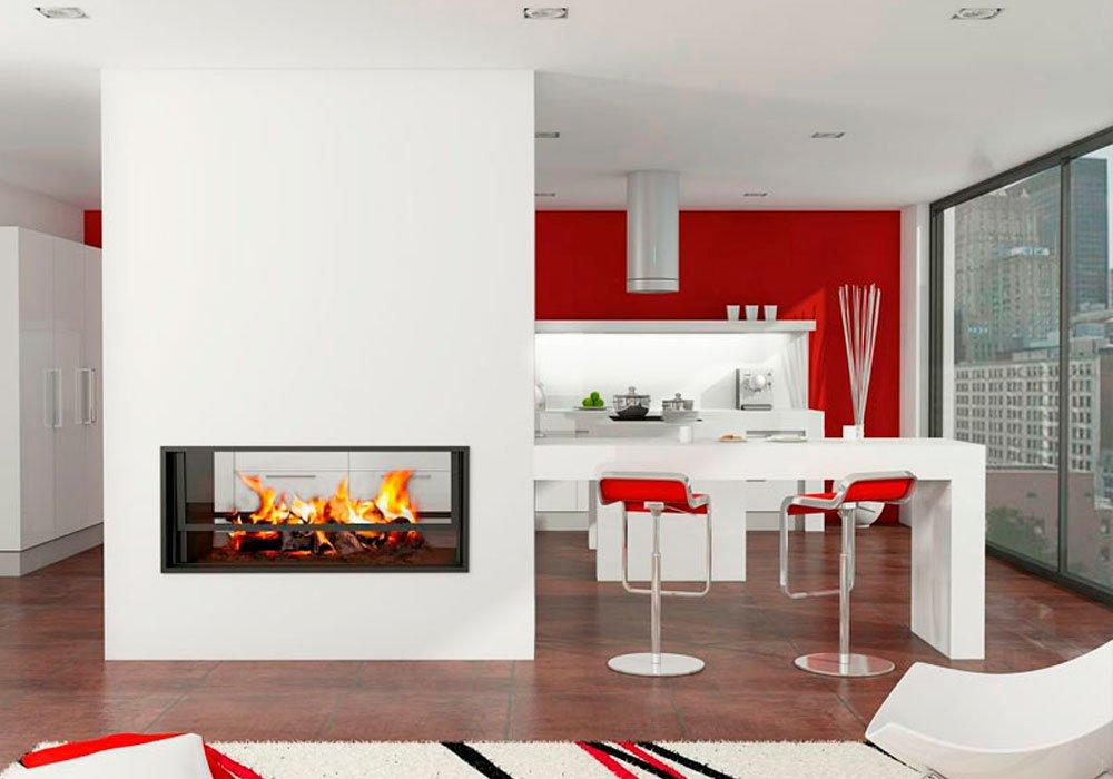Salones con chimenea decoraci n con madera for Chimenea de gas en un piso