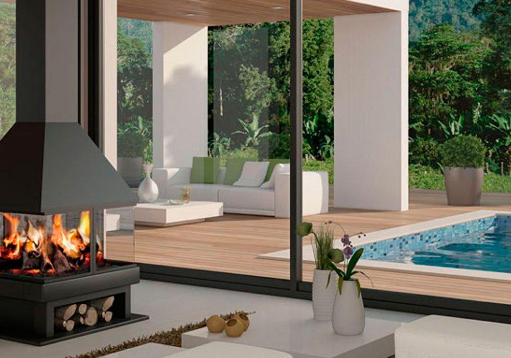 Salones con chimenea decoraci n con madera - Poner chimenea piso ...
